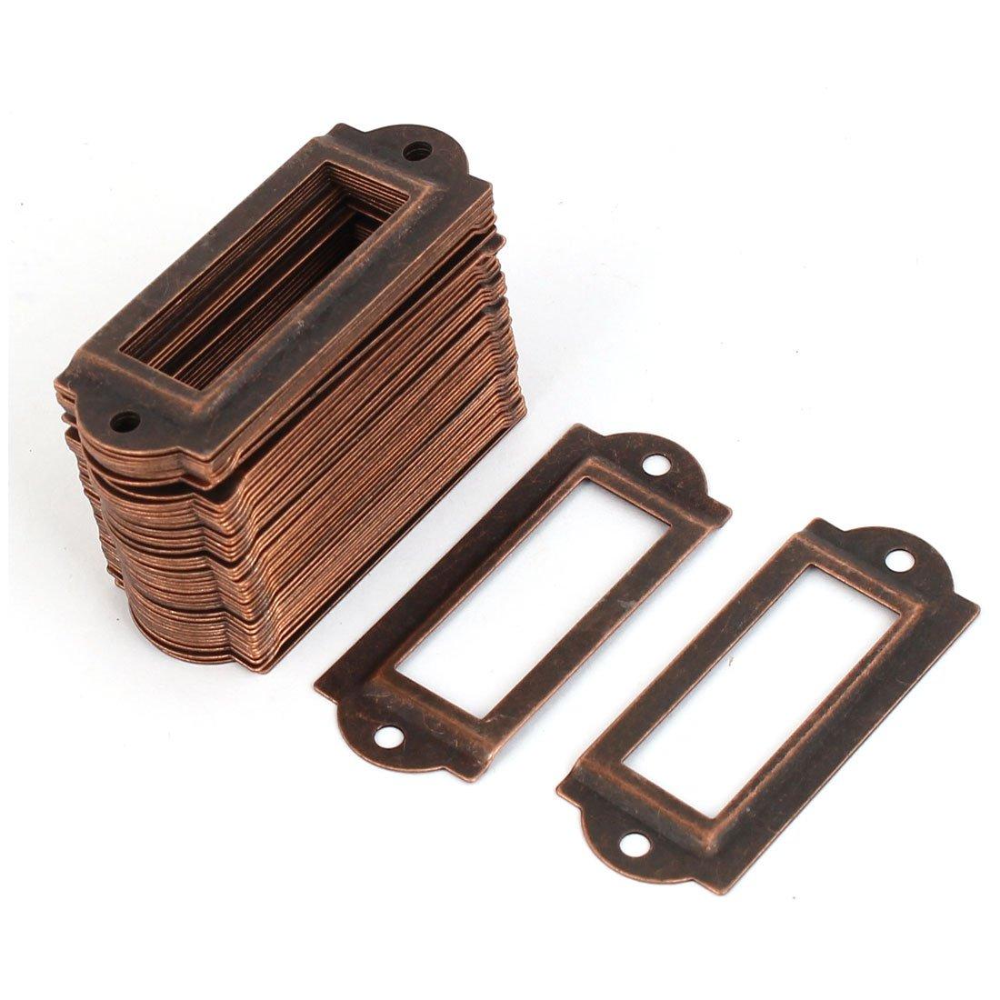 sourcingmap® Etiqueta de archivo cajón Nombre Etiqueta tarjeta del sostenedor de tono de cobre 50pcs a16062000ux0459