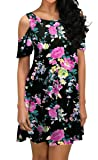 QIXING Women's Summer Cold Shoulder Floral Print