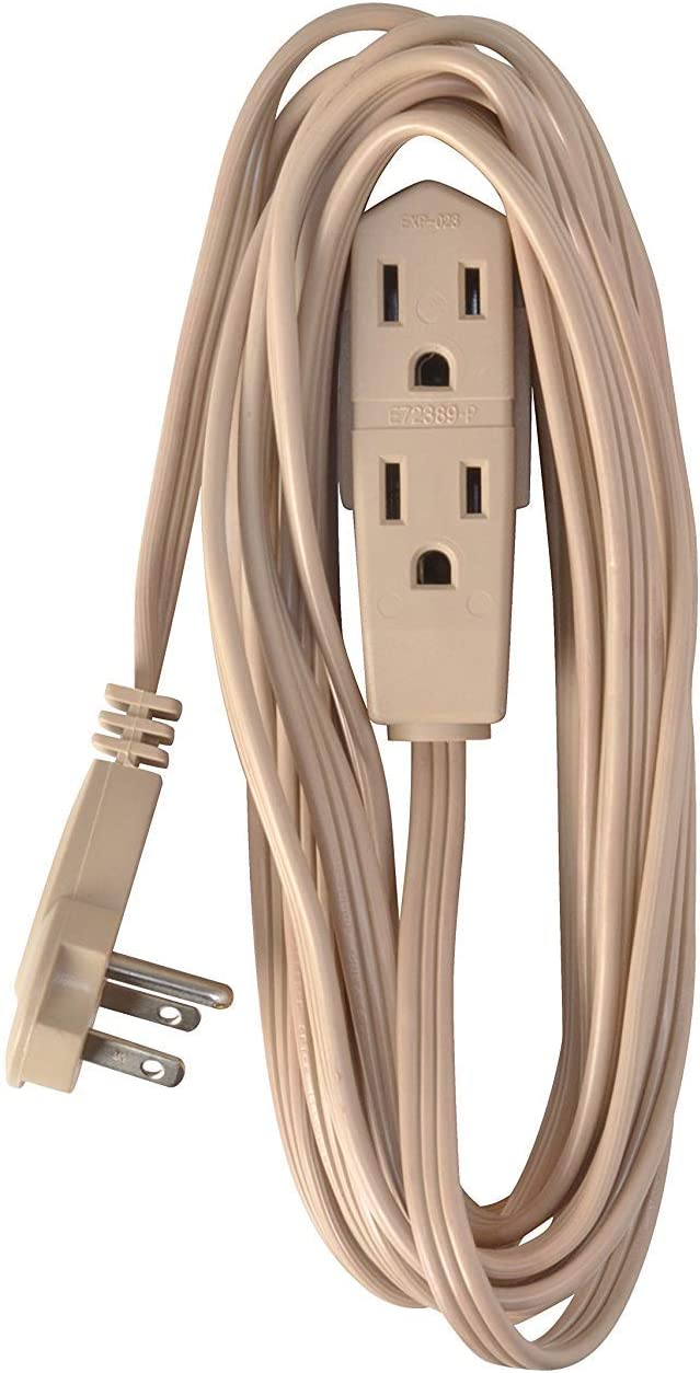 Coleman Cable 2255 Extension Flat Plug and Cord (13 Foot, Beige)