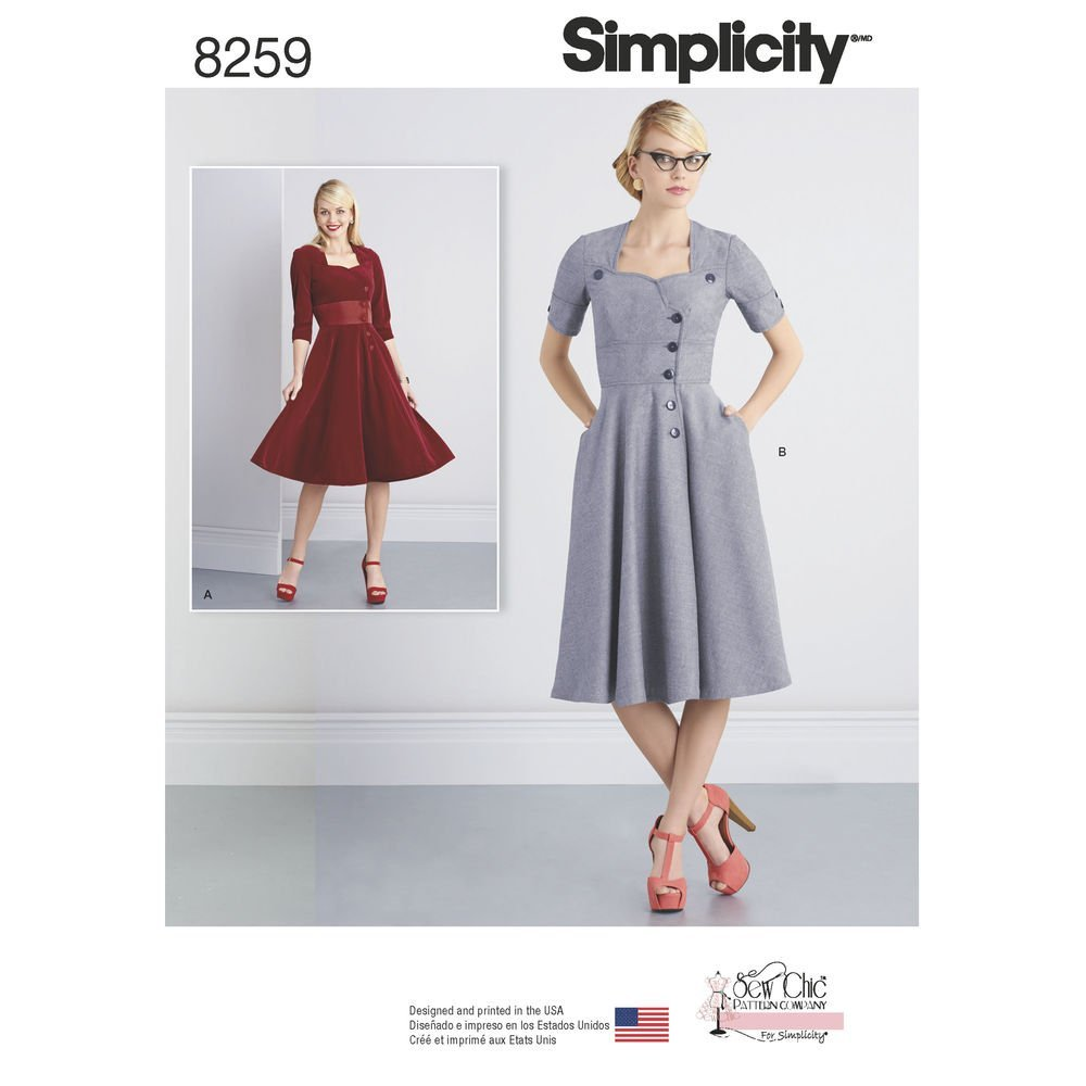 Simplicity Pattern 8259 Y5 Patrones para Coser Chic botón Frontal ...