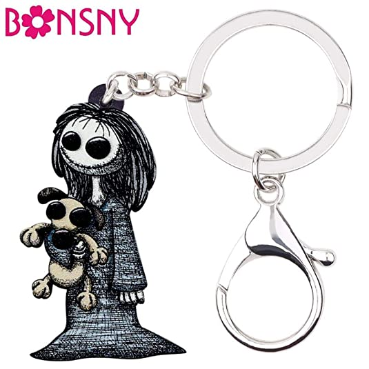 Enamel Alloy Smile Beagle Dog Keychain Key Ring For Women Wallet Charms Jewelry