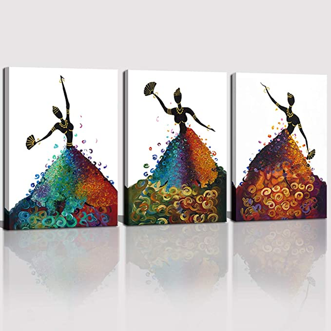 African Native Women Abstract 3 PCS Canvas Printed Wall Art Poster Home Decor