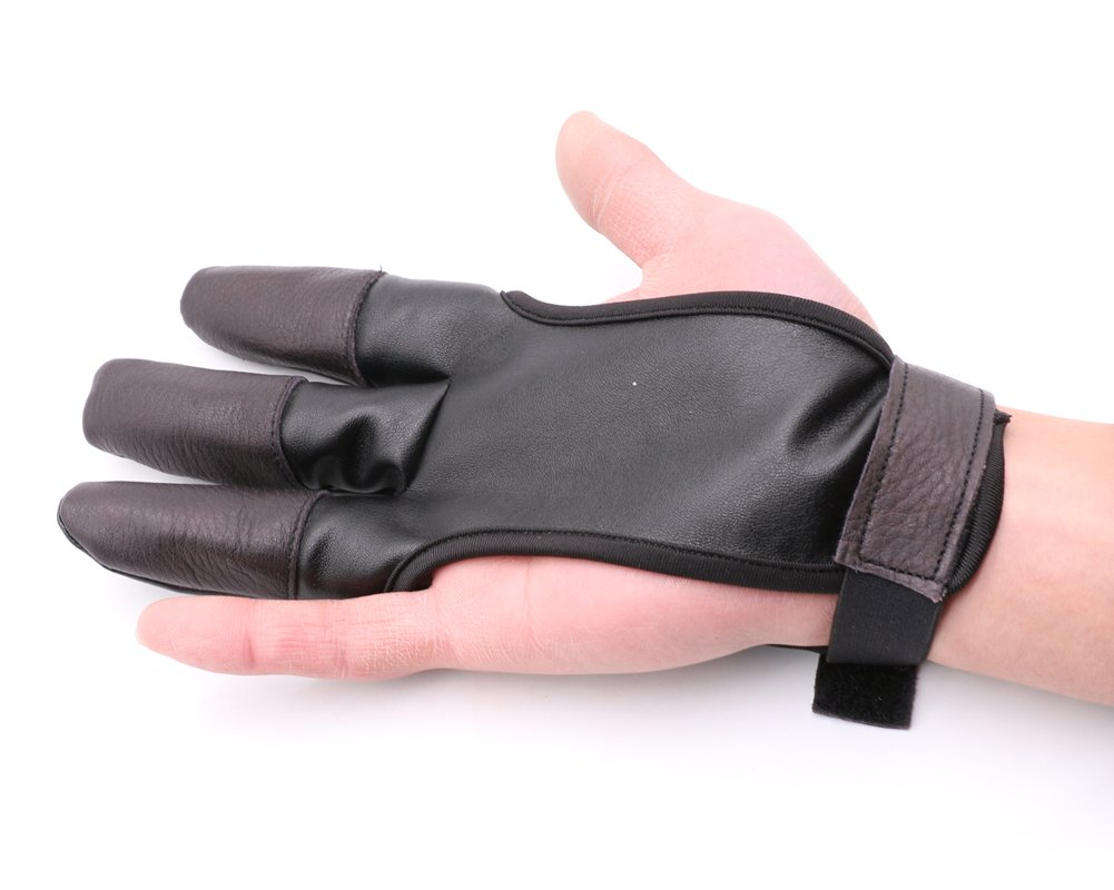 Nachvorn Archery Leather Shooting Protect Gloves,3 Finger Design Fits Either Hand