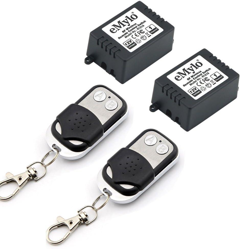 emylo DC 12V 2 x 1 Canal Inteligente Receptor de Control Remoto inalámbrico Relé de RF Módulo Remoto Interruptor de luz Automatización del hogar DIY con Controlador de transmisor 433MHz