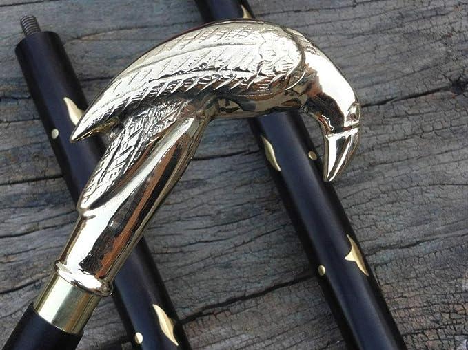 Details about  /Black Antique Solid Brass Raven Head Handle For Walking Stick Wooden Cane
