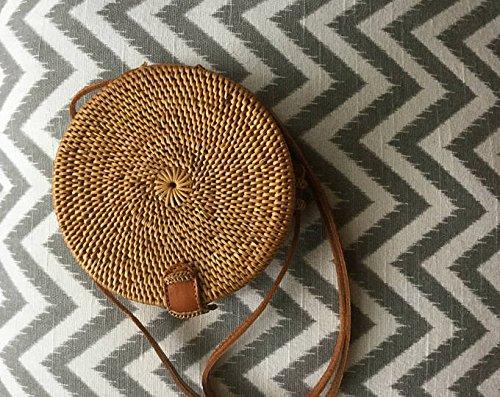 Crossbody Circle SELLER Rattan Straw Bag Round Basket Shoulder Handwoven ATA US Bali Handbag Tan Circle 41wd8q7xY