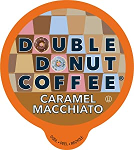 Caramel Macchiato Coffee - Caramel Coffee in Recyclable Single Serve Coffee Pods for the Keurig K Cups Coffee Brewers, From Double Donut, 24 Cups