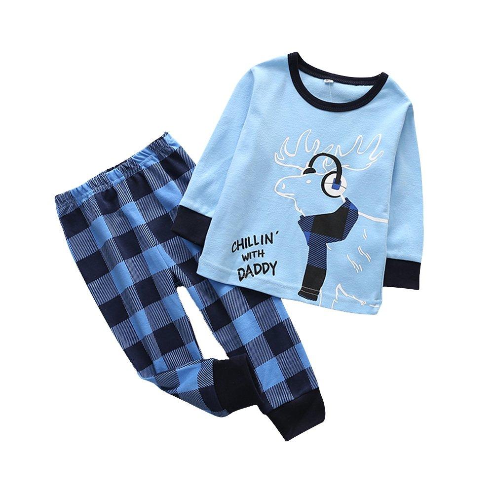 BOBORA Kids Girls Boys Christmas Home Dress Long Sleeve Cotton Pyjamas Set 1-6Years BON-N-1982ZM408