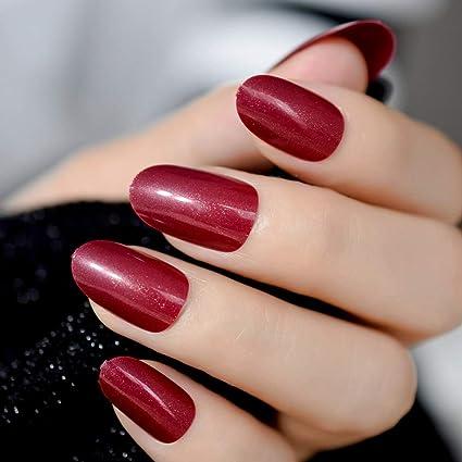EchiQ - Juego de 24 uñas postizas ovaladas de color rojo oscuro y acrílico