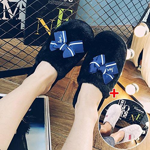 LaxBa Femmes Hommes chauds dhiver Chaussons peluche antiglisse intérieur Cotton-Padded ShoesFemale Slipper + Noir + Gris mâle femelle38-39 42-43