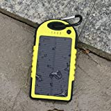 5000mAh Solar Battery Panel Dual USB Port Rain-resistant, Dirtproof and Shockproof Portable Charger Backup External Battery Pack Power Bank for iPhone 5S, 5C, 5, iPhone 4S, 4,iPad Air, Mini (Apple Adapters not Included) Samsung Galaxy S5, S4, S3, S2, Note 3, Note 2, HTC New one, M7, Android Smartphone and Tablets, Window Phones and More Other Devices(Yellow)