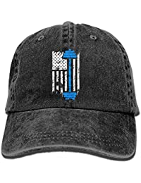Gym Fitness Weightlifting - American Flag Lifting Washed Retro Adjustable Jeans Cap Baseball Cap ForAdult