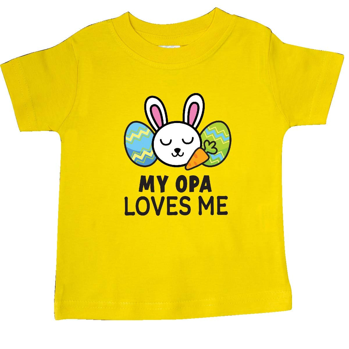 inktastic My Opa Loves Me with Bunny and Easter Eggs Baby T-Shirt