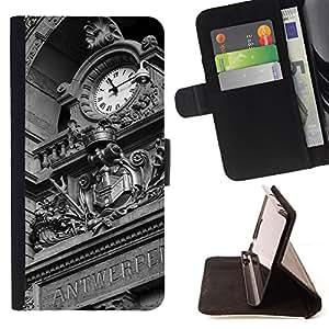 BullDog Case - FOR/Samsung Galaxy S5 Mini, SM-G800 / - / Architecture Europe Ancient Clock /- Monedero de cuero de la PU Llevar cubierta de la caja con el ID Credit Card Slots Flip funda de cuer