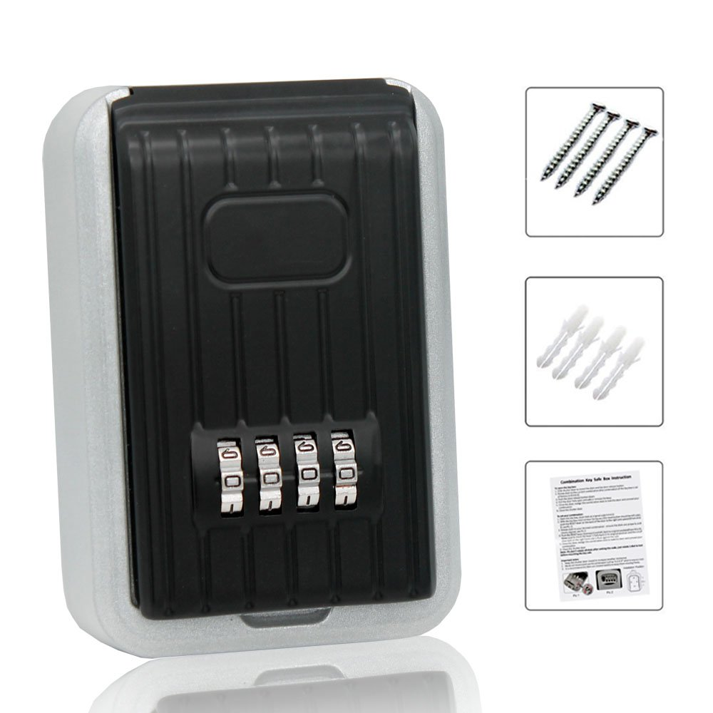 Key Storage Lock Box, 4-Digit Combination Lock Box, Wall Mounted Lock Box, Resettable Code