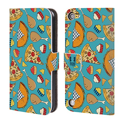 Head Case Pizza E Taco Pattern Fast Food Cover telefono a portafoglio in pelle per Apple iPod Touch 5G 5th Gen / 6G 6th Gen