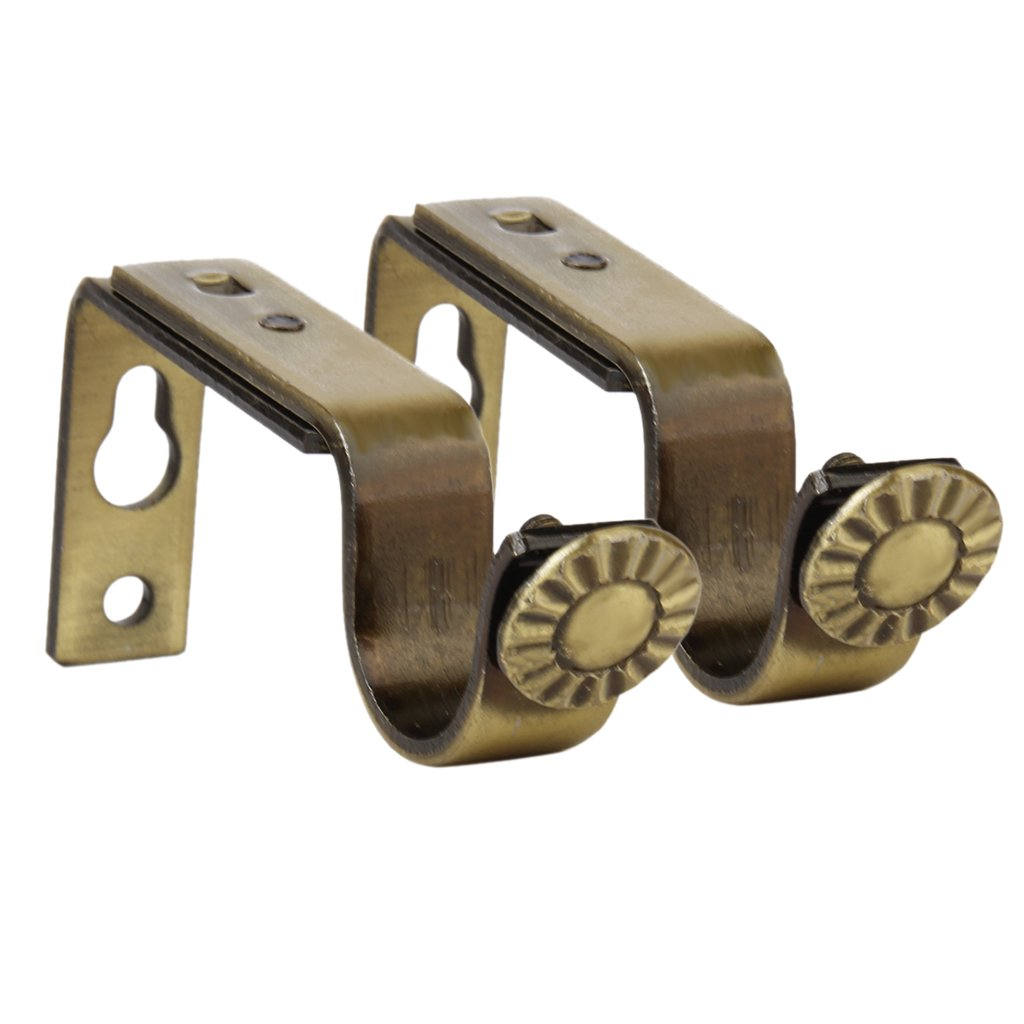 2pcs Adjustable Metal Curtain Pole Rod Support Brackets 22mm Bronze Color Generic BHBA745