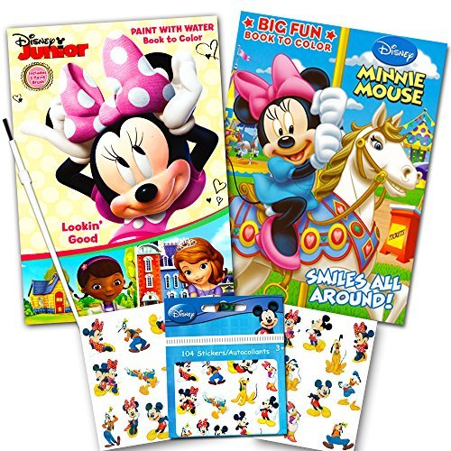 Disney Minnie Mouse Paint With Water Super Set Kids Toddlers -- Mess Free Book with Paint Brush, Coloring Book and Stickers! - Disney Watch Featuring Minnie Mouse