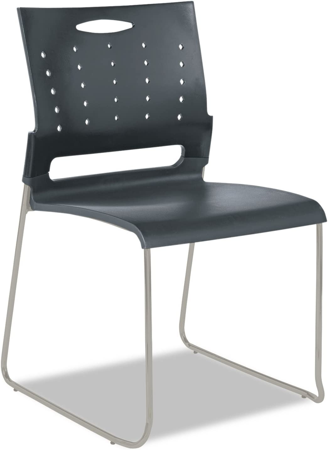 Alera Continental Series Perforated Back Stacking Chairs, Charcoal Gray Case of 4