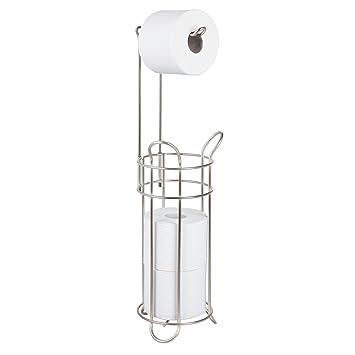 mDesign Portarrollos de papel higiénico de pie – Moderno dispensador de papel higiénico de metal –