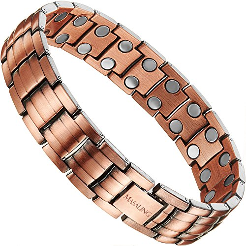 Elegant Pure Red Copper Bracelet, MASALING Copper Magnetic Therapy Bracelet Pain Relief for Arthritis Carpal Tunnel with Double Row Magnets,Mens Copper Magnetic Bracelet with Remove Tool