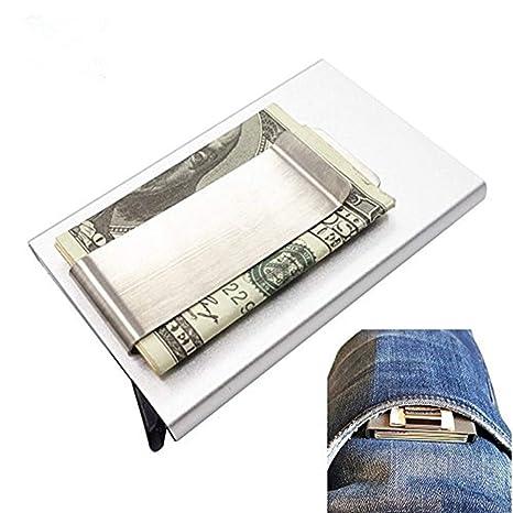 3d8b2f6414 Porta Carte di Credito in Alluminio Pop Up Antifurto, I-Clip Portafoglio  Compatto Mini