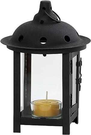 Portavelas, candelabro, portavelas, Jardín Lámpara Farol en negro para velas de té y pequeños velas: Amazon.es: Hogar