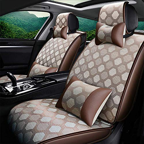 LALEO Full Set Car Seat Covers, Universal Weaving Rattan Summer Cool Breathable Waterproof Airbag Compatible and Split Bench, Gold, Brown, Beige, Gray,Gold