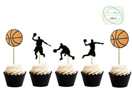 Amazon Com 22pcs Black Dunk Basketball Silhouette Cupcake