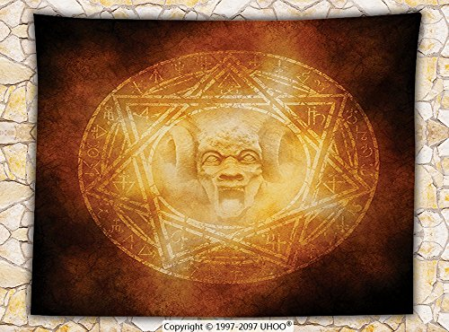 Horror House Decor Fleece Throw Blanket Demon Trap Symbol Logo Ceremony Creepy Ritual Fantasy Paranormal Design Throw Orange by iPrint