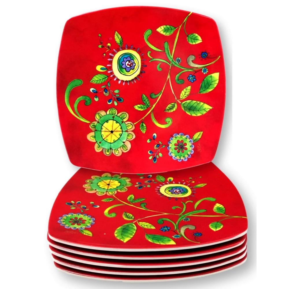 Merritt International Salad Snack Plates Melamine Luna Bloom 8 Inch Square Red Asian Floral Red Set of 6 輸入品