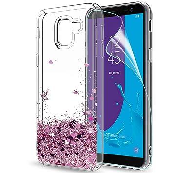 LeYi Compatible with Funda Samsung Galaxy J6 2018 Silicona Purpurina Carcasa con HD Protectores de Pantalla,Transparente Cristal Bumper Telefono Gel ...
