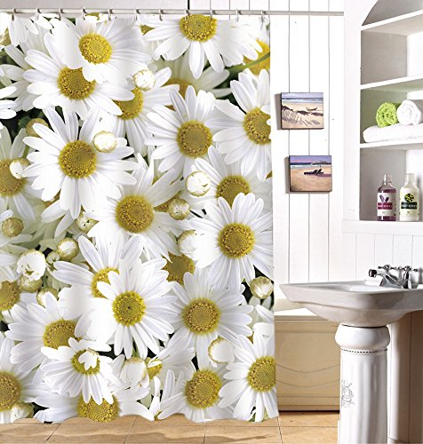 ChezMax 3D Daisy Printed Mildew Resistant Bathroom Fabric Shower Curtain with 12 Hooks 70