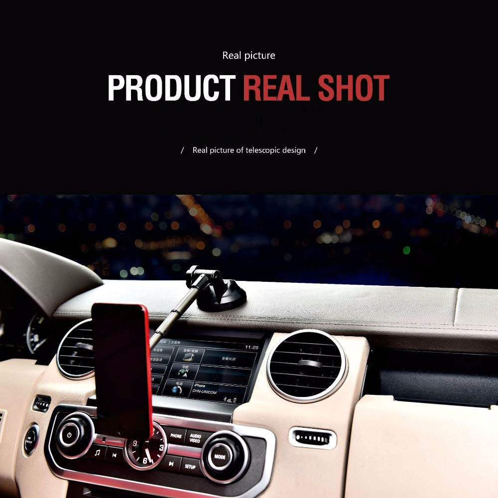 XuBa Car Phone Holder 360 Degree Rotating Suction Cup Telescopic Magnet Car Phone Holder for iPhone Android Black