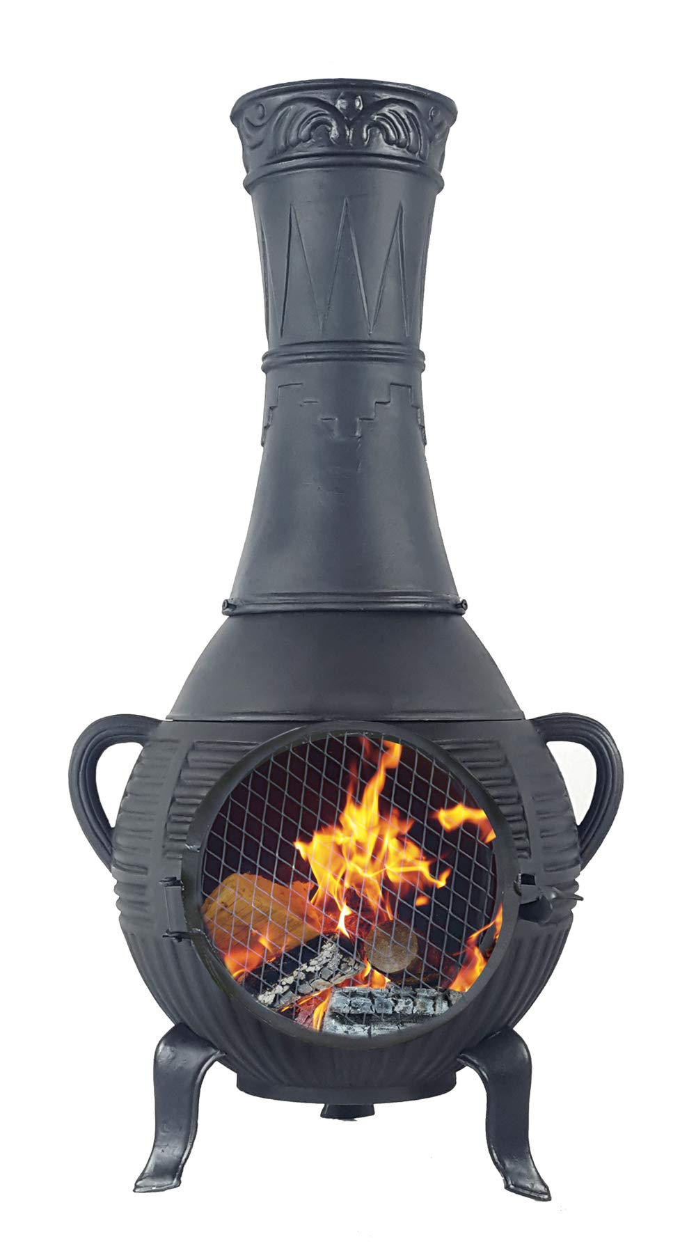 The Blue Rooster CAST Aluminum Pine Chiminea with Gas and a 10' Hose in Charcoal. Also Comes with a Free Year Round Cover. by The Blue Rooster