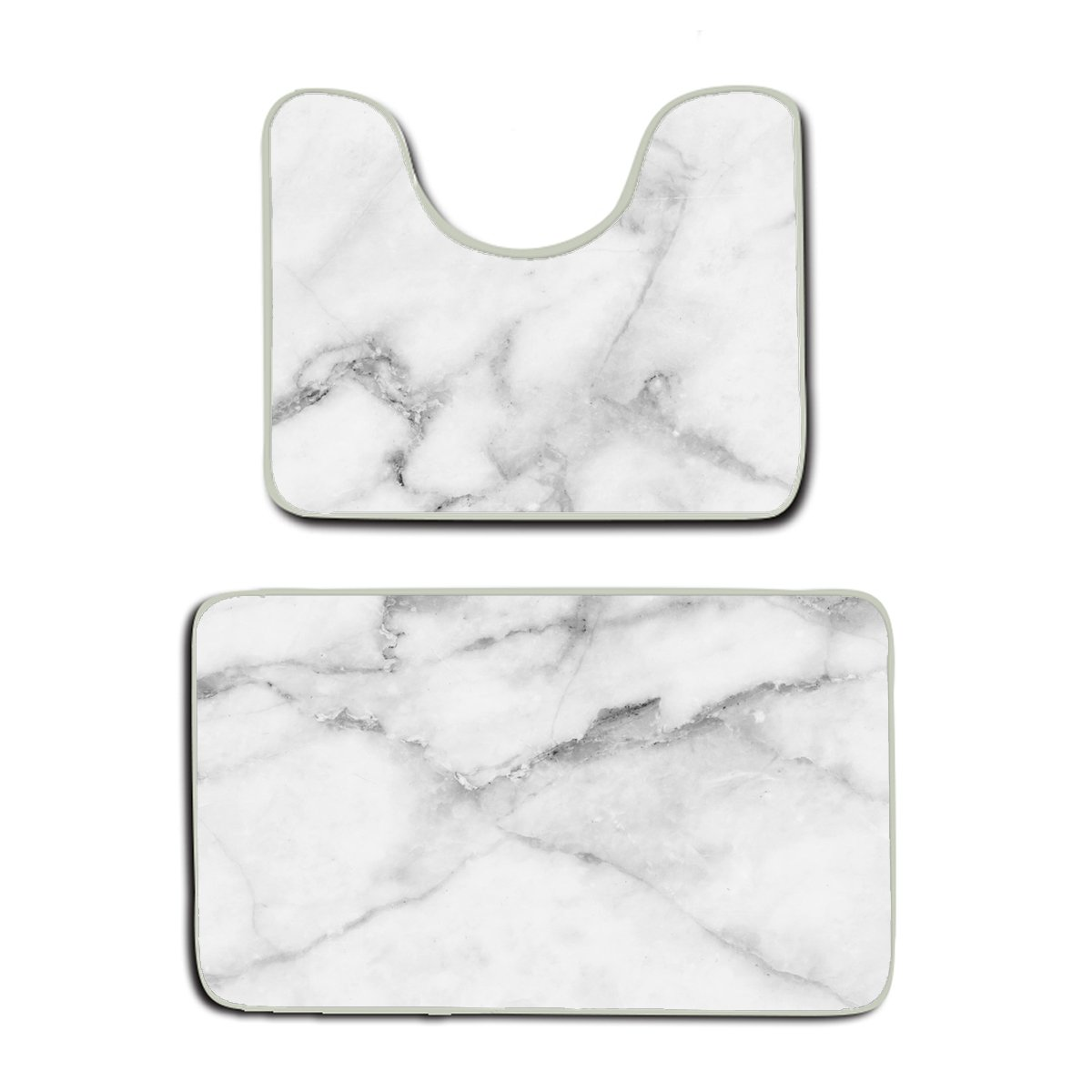 AMERICAN TANG Natural White Marble Texture For Background Or Skin Tile Wall Luxurious Picture High Resolution Bathroom Rug 2 Piece Bath Mat Set Contour Rug