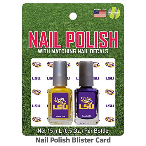 Worthy Promotional Louisiana State LSU Nail Polish Team Colors and Nail Decals