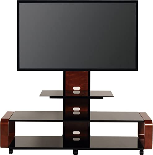 TransDeco casters 35-85 Curved Wood TV Stand with Mount, 60 W x 19.7 D x 62.1 H, Dark Oak Black