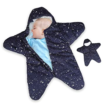 heiß-verkauf echt spottbillig modischer Stil Dee Banna Baby Swaddle, Neugeborenen Stern Baby Boy Girl Bunting Winter  Schlafsack warme Decke Swaddle für 0-12Monate Baby(blue)