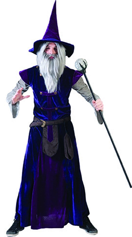 Herren Halloween Karneval Kostüm Set Zauberer, Hexer, One Größe, Violett