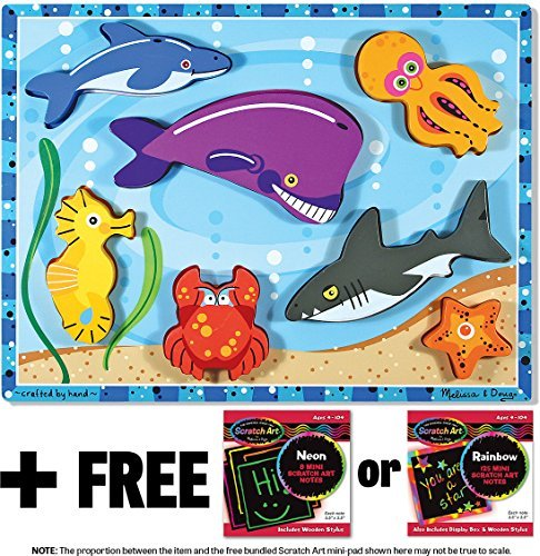 Sea Creatures Themed Chunky Puzzle + FREE Melissa & Doug Scratch Art Mini-Pad Bundle (Fresh Start Wooden Puzzle)