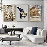 HYFBH Decoración Moderna de la Sala de Estar Pluma Dorada Cartel Abstracto Alas de ángel Pintura de la Lona Cuadro de la…