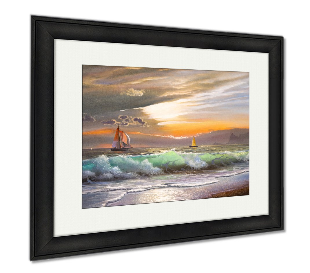 Ashley Framed Prints Oil Painting On Canvas Sailboat Against A Of Sea Sunset, Modern Room Accent Piece, Color, 34x40 (frame size), Black Frame, AG5803093