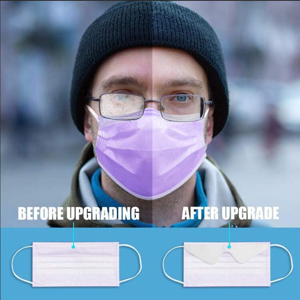 CHYOU 100PCS Anti-fog Face M/àsc Bandanas Disposable 3-Ply Face Madks for Women and Mens Wearing Glasses 100PC,Purple