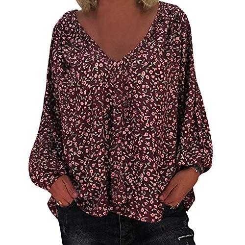 Femme Longues blouse Fleurs Noir showsing Rouge Multicolore T Taille Col women Unique V Vin Manches Shirt Hwnq8Uz