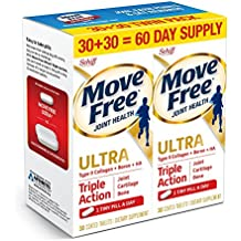 Move Free Ultra Triple Action, 60ct (2x30ct Twin Pack) - Joint Health Supplement with Type II Collagen, Boron and HA