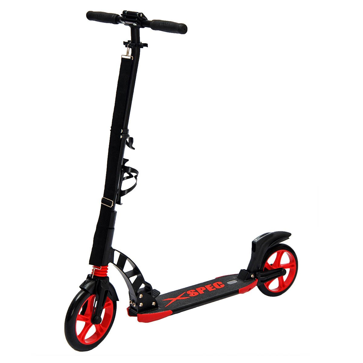 Xspec 922 Foldable Adult Kick Street Scooter w/ Full Suspension & Rear Wheel Braking System, Supports 220 lbs, City Urban Commuter Street Push Scooter, Aluminum Frame Matte Black and Red