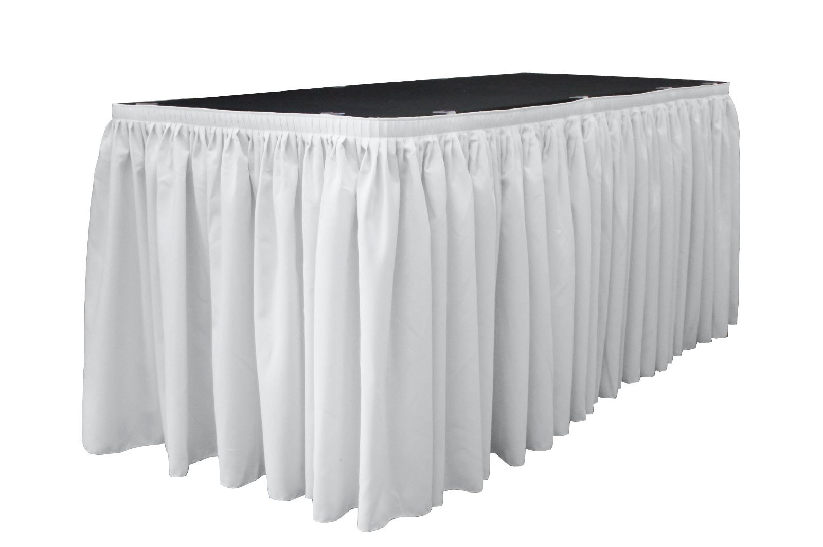 LA Linen Polyester Poplin Pleated Table Skirt with 10 Large Clips, 21-Feet by 29-Inch, White. by LA Linen