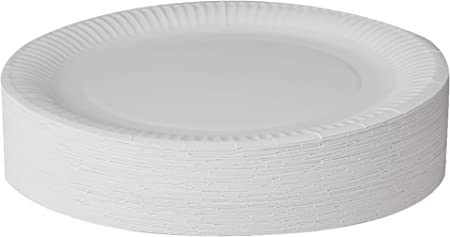 Paquete de 100 platos de papel grandes para fiesta.,Se entrega en un solo paquete.,La apariencia del