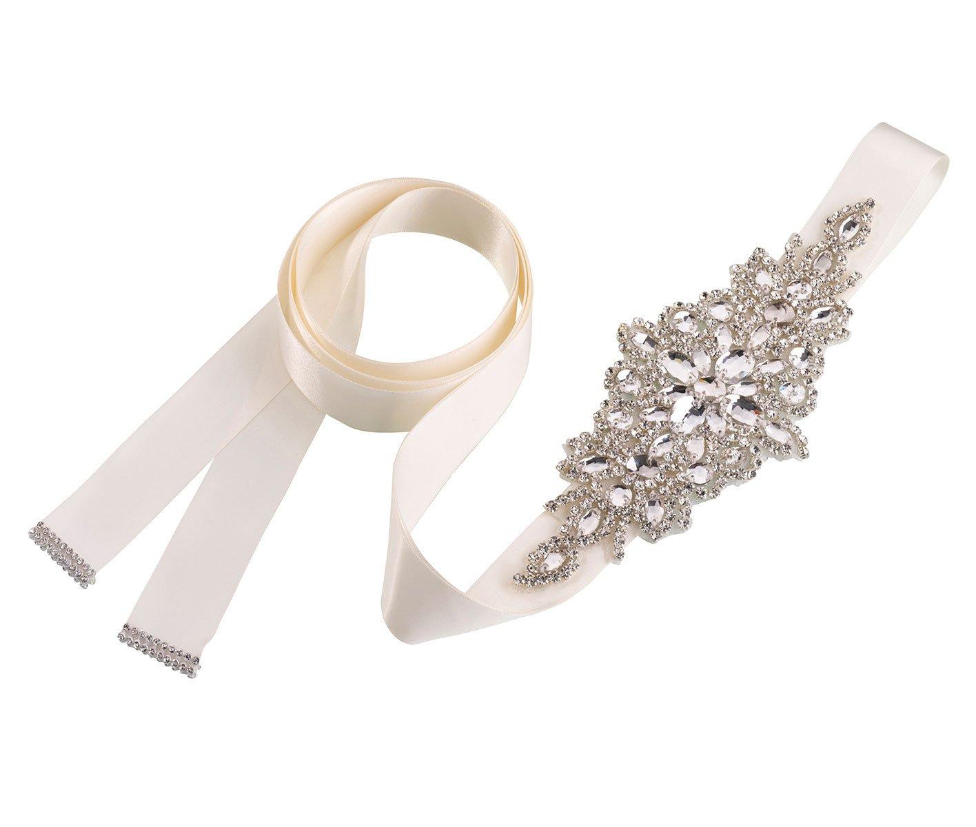 Lillian Rose Ivory Crystal Bridal Belt for Wedding Dress
